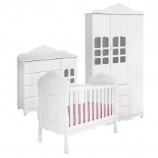 1Quarto de Bebê Imperial 3 Portas com Berço Realeza Branco A