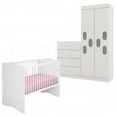 1Quarto de Bebê Meu Bebê 2 Portas com Berço Alegria Branco B