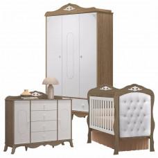 1Quarto de Bebê Realeza 3 Portas com Capitonê Cômoda 2 Porta