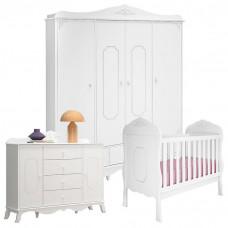 1Quarto de Bebê Realeza 4 Portas Branco Acetinado - Canaã