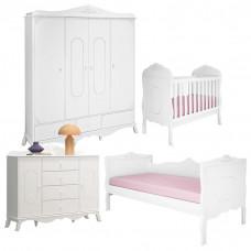 1Quarto de Bebê Realeza 4 Portas e Cama Infantil Branco Acet