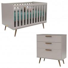 Berço Americano e Cômoda Infantil Retro Cinza Eco Wood - Mat