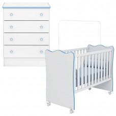 Berço e Cômoda infantil Doce Sonho Branco Azul Brilho - Qmov
