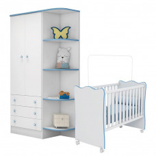 Berço e Guarda Roupa Infantil Doce Sonho Branco Azul Brilho