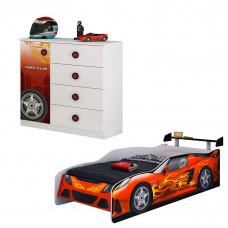 Cama e Cômoda Infantil Sport Car Branco Acetinado - Móveis E