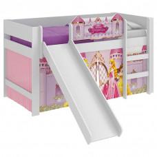 cama infantil princesas disney play com escorregador branco