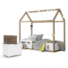 Cama Montessoriana Liv com Baú Toy Branco Soft Teka - Matic