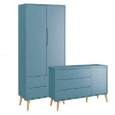 Cômoda Infantil 1 Porta e Guarda 2 Portas Theo Azul com Pés