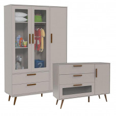 Cômoda Infantil 1 Porta Retro Glass Cinza Eco Wood – Matic