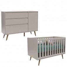 Comoda Infantil Com Porta Retro Clean e Berço Retro Cinza Ec