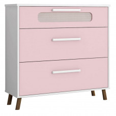 comoda infantil retro bibi branco acetinado rosa moveis- str