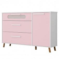 comoda infantil retro bibi com porta branco acetinado rosa m
