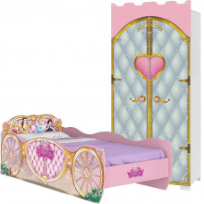 Guarda Roupa Infantil Castelo e Cama Princesas Disney Star -
