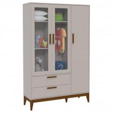 Guarda Roupa Infantil Nature Glass 3 Portas Cinza Eco Wood M