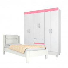 Guarda Roupa Infantil Soft e Cama Riviera Branco Brilho Rosa