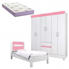 Guarda Roupa Infantil Soft e Cama Riviera Branco Rosa com Co