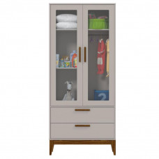 Guarda Roupa Nature Glass Cinza Eco Wood Frente