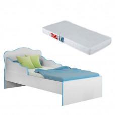 Mini Cama Doce Sonho 113 Branco Azul com Colchão - Qmovi