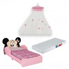 Mini-Cama-Infantil-Minnie-Disney-7A-com-Dossel-e-Colchao-Pur