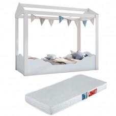 Mini cama Montessoriana Colore Branco Azul com Colchão Ortob