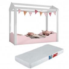 Mini cama Montessoriana Colore Branco Rosa com Colchão Ortob