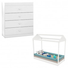 Mini Cama Montessoriana com Cômoda Fantasy Baby Clean Branco