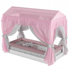 Mini Cama Montessoriana com Dossel Branco Rosa - Pura Magia