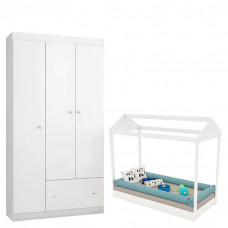 Mini Cama Montessoriana com Guarda Roupa Fantasy Baby Clean
