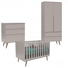 Quarto De Bebê 2 Portas Comoda Infantil Retro Clean e Berço