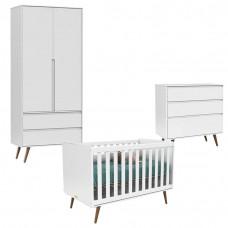 Quarto De Bebê 2 Portas Retro Clean Branco Acetinado Eco Woo