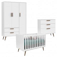 Quarto de Bebê 3 Portas com Cômoda Gaveteiro Retro Branco Ac