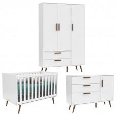 Quarto de Bebê 3 Portas Cômoda 1 Porta Retro Branco Acetinad