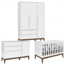 Quarto de Bebê 3 Portas Cômoda com Porta Nature Clean Branco