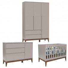 Quarto de Bebê 3 Portas Cômoda com Porta Nature Clean Cinza