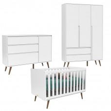 Quarto de Bebê 3 Portas Comoda com Porta Retro Clean Branco