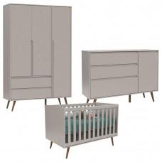 Quarto de Bebê 3 Portas Comoda Com Porta Retro Clean Eco Woo