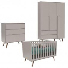 Quarto de Bebê 3 Portas e Berço Retro Cinza Eco Wood - Matic