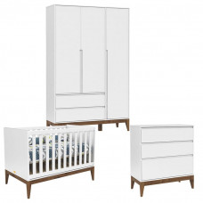 Quarto de Bebê 3 Portas Nature Clean Branco Acetinado Eco Wo