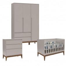 Quarto de Bebê 3 Portas Nature Clean Cinza Eco Wood - Matic