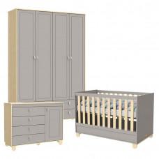 Quarto de Bebê 4 Portas Cômoda com Porta Rope Natural Cinza