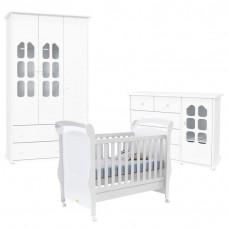 Quarto de Bebê Amore 3 Portas com Berço Fratelli Branco Bril