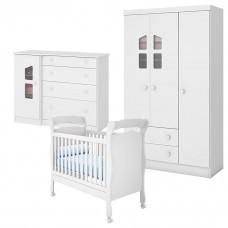 Quarto de Bebê Amore 3 Portas Cômoda com Porta e Berço Ameri