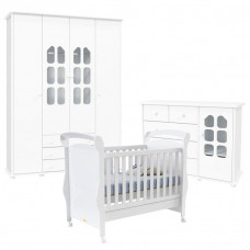 Quarto de Bebê Amore 4 Portas com Berço Fratelli Branco Bril