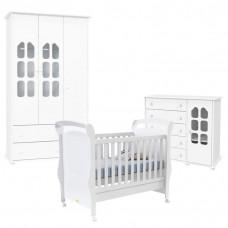 Quarto de Bebê Amore Slim 3 Portas com Berço Fratelli Branco