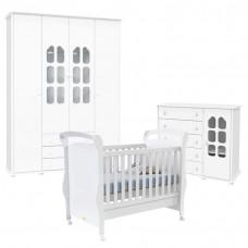 Quarto de Bebê Amore Slim 4 Portas com Berço Fratelli Branco