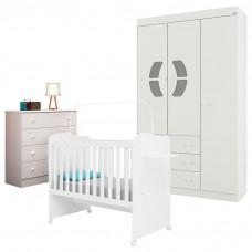 4Quarto de Bebê Belly 4 Gavetas com Berço Munique Branco Bri