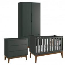 Quarto de Bebê Classic 2 Portas Azul com Pés Amadeirados – R