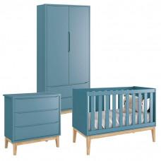 Quarto de Bebê Classic 2 Portas Azul com Pés Madeira Natural