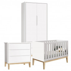 Quarto de Bebê Classic 2 Portas Branco com Pés Madeira Natur