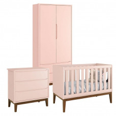 Quarto de Bebê Classic 2 Portas Rosa com Pés Amadeirados